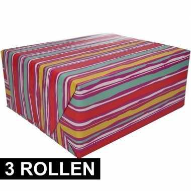 3x gekleurd cadeaupapier 70 x 200 cm type 4 prijs