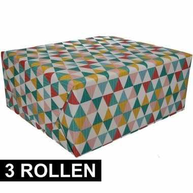 3x gekleurd cadeaupapier 70 x 200 cm type 6 prijs