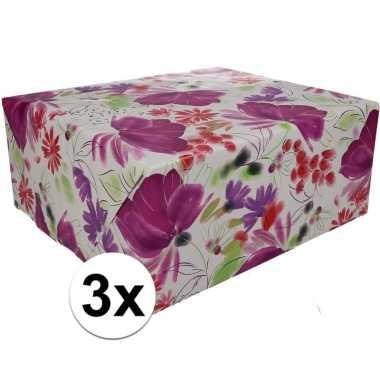 3x gekleurd cadeaupapier 70 x 200 cm type 9 prijs