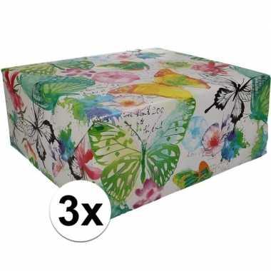 3x gekleurd cadeaupapier met bloemen 70 x 200 cm type 8 prijs
