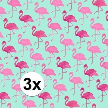 3x gekleurd cadeaupapier met flamingos 70 x 200 cm type 2 prijs