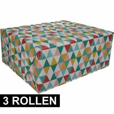 3x gekleurd cadeaupapier met grafische print 70 x 200 cm prijs