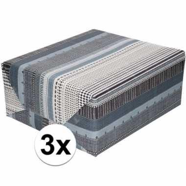 3x gekleurd cadeaupapier met grijs zwart en witte print 70 x 200 cm p