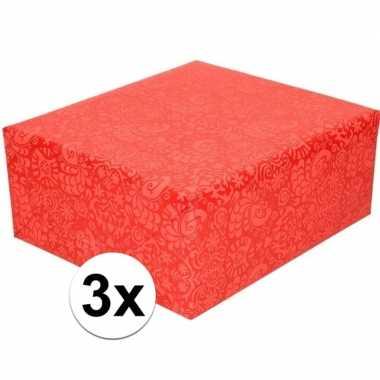 3x gekleurd cadeaupapier met licht rood motief 70 x 200 cm prijs