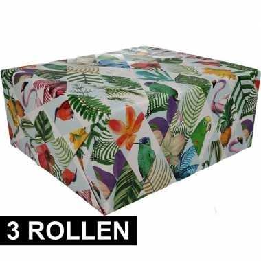 3x gekleurd cadeaupapier met papegaaien print 70 x 200 cm prijs