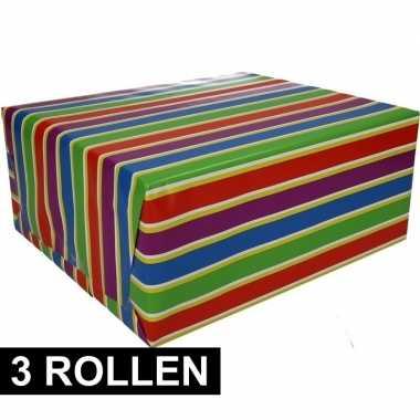3x gekleurd cadeaupapier met strepen 70 x 200 cm type 1 prijs