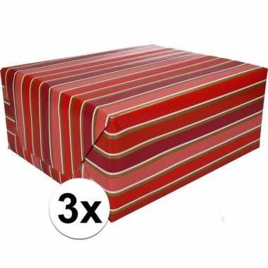 3x gekleurd cadeaupapier met strepen 70 x 200 cm type 7 prijs