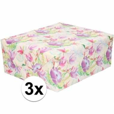 3x gekleurd cadeaupapier met tropische bloemen en vogels 70 x 200 cm