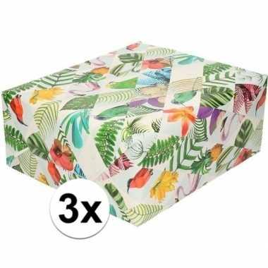 3x gekleurd cadeaupapier met tropische vogels 70 x 200 cm prijs
