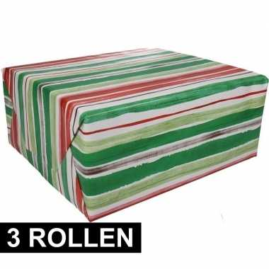 3x gestreept cadeaupapier 70 x 200 cm prijs