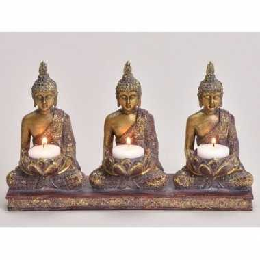 3x goud boeddha beeldjes met kaarshouder 17 cm prijs