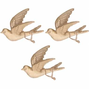 3x gouden vogels kerstornamenten kersthangers 11 cm prijs