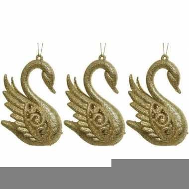 3x gouden zwanen kerstornamenten kersthangers 10 cm prijs