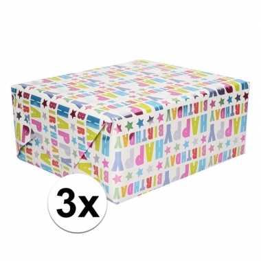 3x happy birthday cadeaupapier 70 x 150 cm prijs