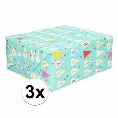 3x happy birthday cadeaupapier 70 x 200 cm prijs
