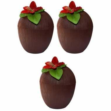 3x hawaii bekers kokosnoot 250 ml prijs