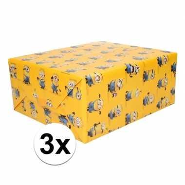 3x inpakpapier minions geel prijs
