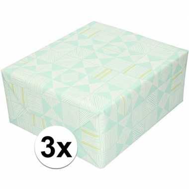 3x kadopapier mintgroen met witte streepjes 70 x 200 cm prijs