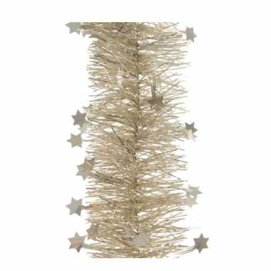 3x kerst lametta guirlandes licht parel/champagne sterren/glinsterend
