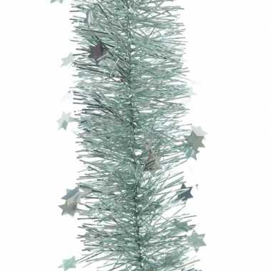3x kerst lametta guirlandes mintgroen sterren/glinsterend 10 x 270 cm