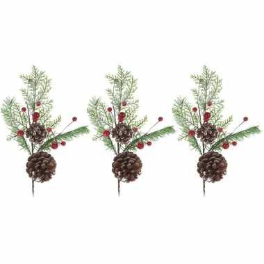 3x kerststukje instekertjes 28 cm prijs