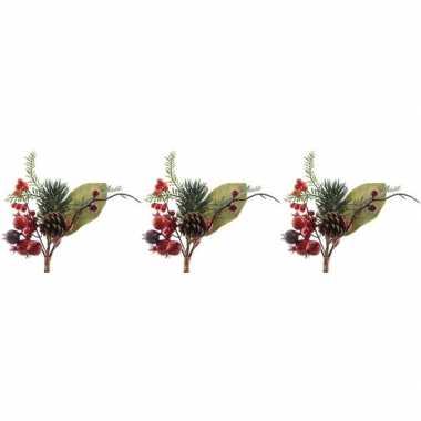 3x kerststukje instekertjes met bessen groen/rood 20 cm prijs