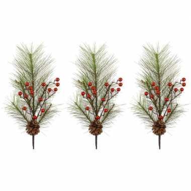 3x kersttakken met rode besjes 60 cm prijs