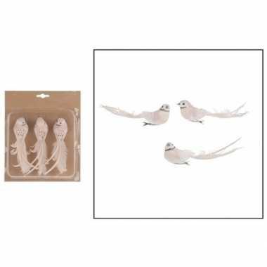 3x kerstversieringen wit/roze vogels op clip 17 cm prijs