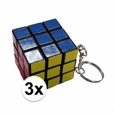 3x kubus puzzels sleutelhangers prijs