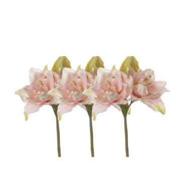 3x kunstbloemen amaryllis roze 41 cm prijs