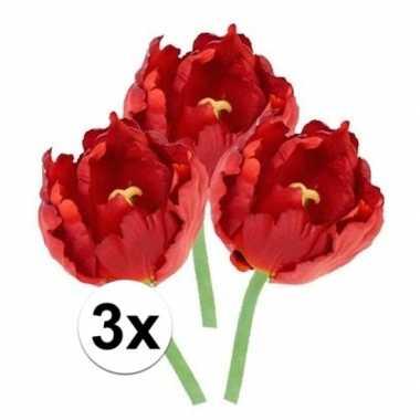 3x kunstbloemen tulp rood 25 cm prijs