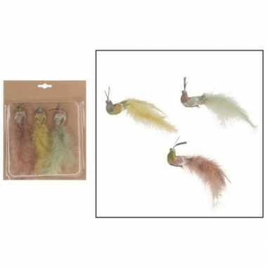 3x kunststof gekleurde pauwen vogels op clip 19 cm prijs