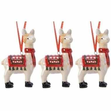 3x lama/alpaca kerstornamenten kersthangers 9 cm prijs