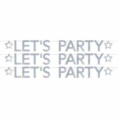 3x lets party holografische feest versiering vlaggenlijnen 2.05 meter