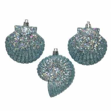 3x lichtblauwe zeeschelp kerstornamenten kersthangers 8 cm prijs