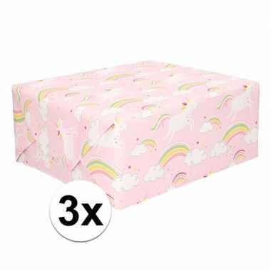 3x lichtroze cadeaupapier met eenhoorns 70 x 200 cm prijs