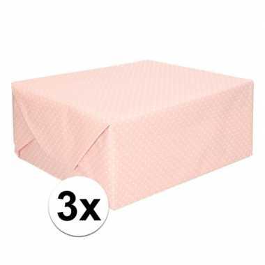 3x lichtroze cadeaupapier met witte stip 70 x 200 cm prijs