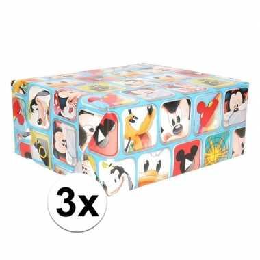 3x mickey mouse geschenkpapier blauw prijs