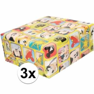 3x mickey mouse geschenkpapier geel prijs