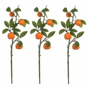 3x nep planten citrus sinensis sinaasappelboom kunstbloemen takken 65