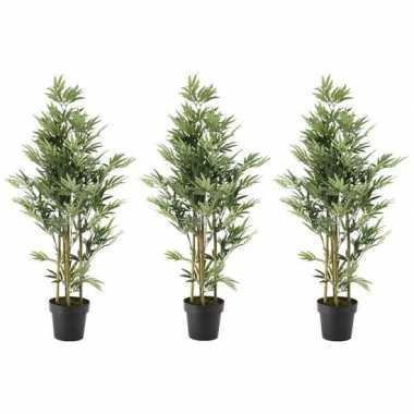 3x nep planten groene bamboe kunstplanten 125 cm met zwarte pot prijs