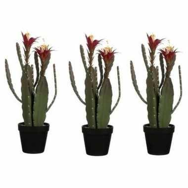 3x nep planten groene cactus met bloemen kunstplanten 47 cm met groen