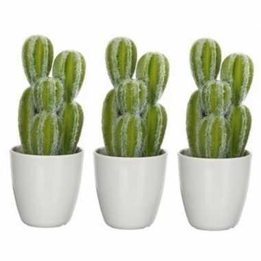 3x nep planten groene euphorbia cowboycactus kunstplanten 28 cm met w