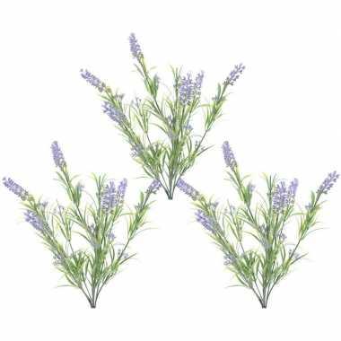 3x nep planten groene/lilapaarse lavandula lavendel kunstplanten 44 c