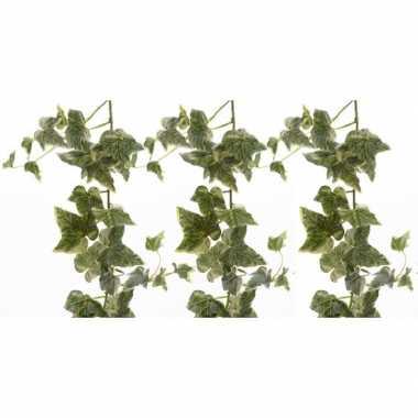 3x nep planten groene/witte hedera helix klimop hangplant kunstplante