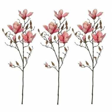 3x nep planten magnolia beverboom kunstbloemen takken 90 cm decoratie