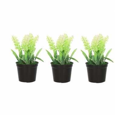 3x nep planten witte lavandula lavendel kunstplanten 16 cm met zwarte