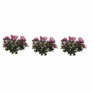 3x nepplanten roze azalea binnenplant kunstplanten 20 cm prijs