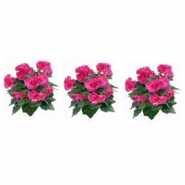 3x nepplanten roze begonia binnenplant kunstplanten 30 cm prijs