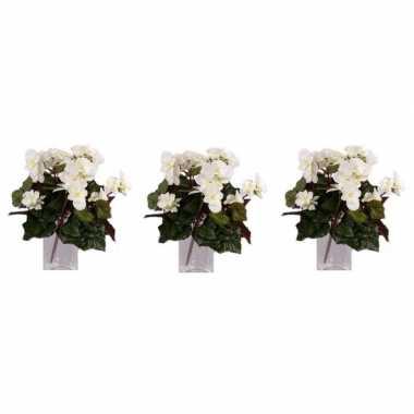 3x nepplanten witte begonia binnenplant, kunstplanten 30 cm prijs
